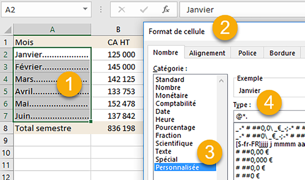 Excel astuces points de suite