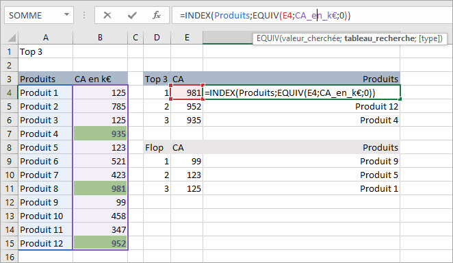 top 3 interactif sous Excel - associer index equiv