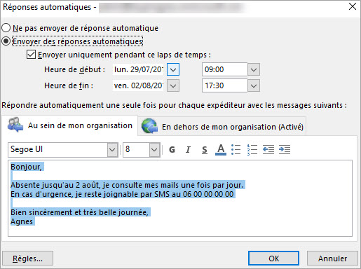 redirection automatique de mails outlook