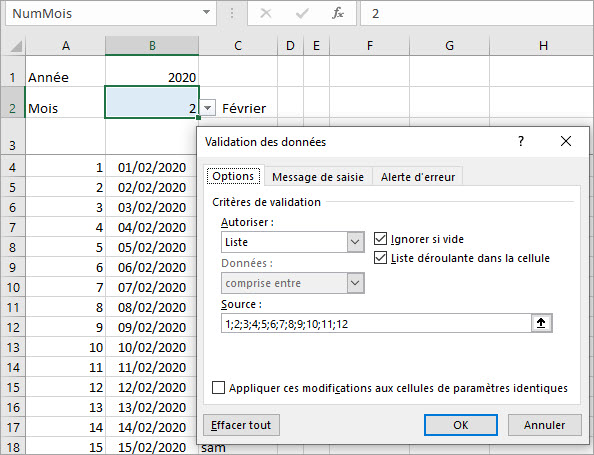 2-liste de validation des donnees - excel calendrier automatique annees bissextiles